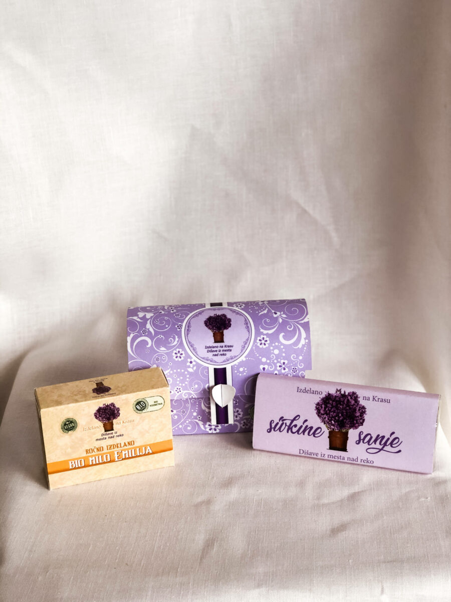 Darilna skrinjica iz sivke (milo, čokolada)
